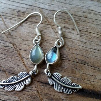 Stone and feather earrings